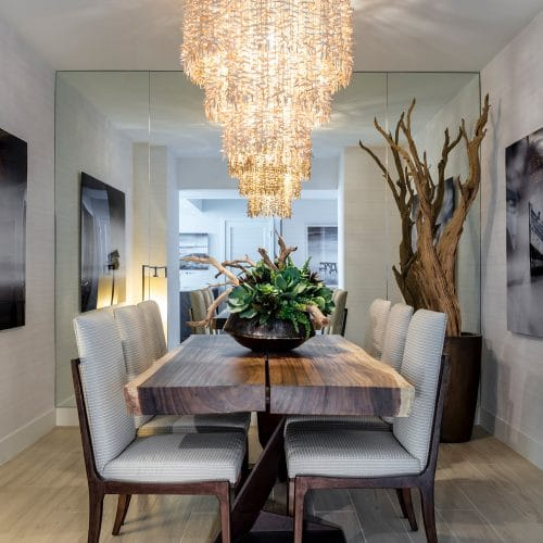 luxury dining room and chandelier