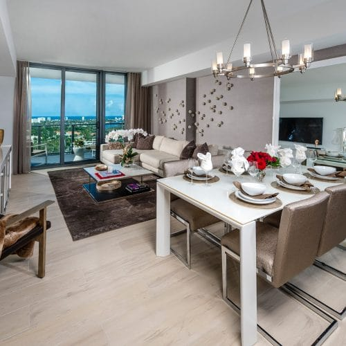 luxury apartment living and dining room