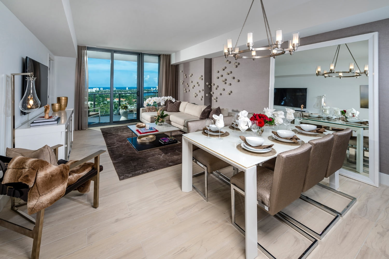 luxury apartment living and dining room image