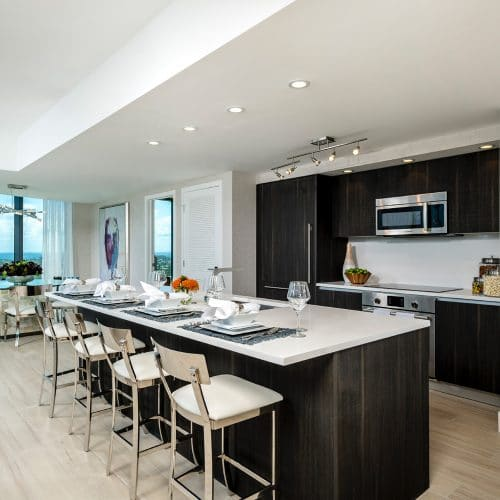 luxury apartment kitchen and dining room