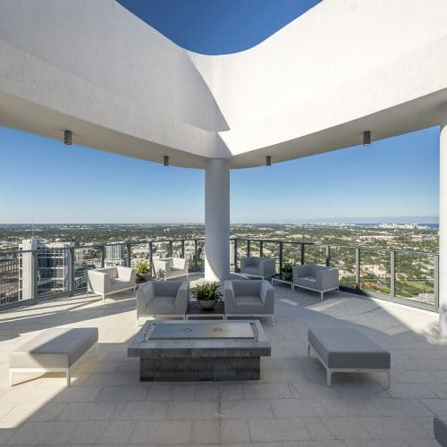 rooftop lounge with view of Fort Lauderdale