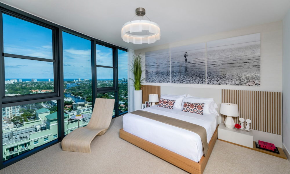 luxury bedroom with ocean view image