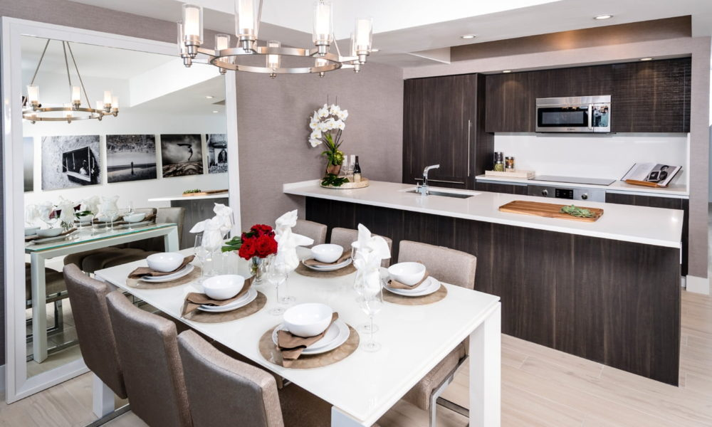 luxury apartment kitchen and dining room image