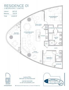 two bedroom Residence 01 floor plan image
