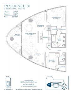 two bedroom Residence 01 floor plan image