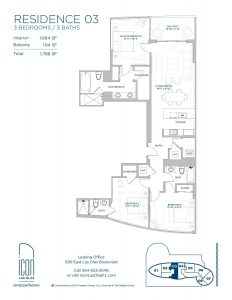 three bedroom Residence 03 floor plan image