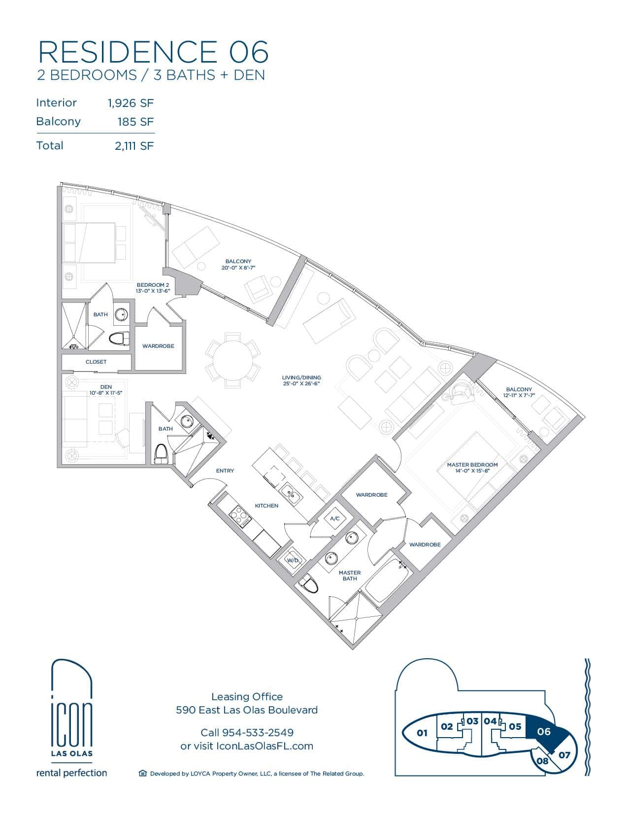 two bedroom Residence 06 floor plan image
