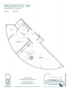 one bedroom Residence 08 floor plan image